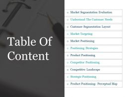Table Of Content Powerpoint Slide Deck Template