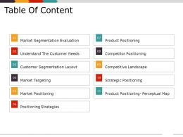 Table Of Content Ppt Diagrams