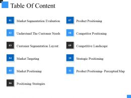 Table Of Content Ppt Model