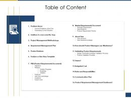 Table Of Content Process Of Requirements Management Ppt Introduction