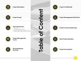 Table Of Content Project Description Ppt Powerpoint Presentation Example