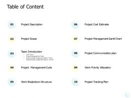 Table Of Content Project Management Cycle Ppt Powerpoint Presentation Gallery Styles