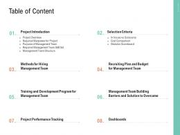 Table Of Content Project Management Team Building Ppt Graphics