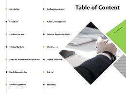 Table Of Content Public Announcements Powerpoint Presentation Pictures Icons