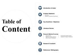Table Of Content Research Method Overview Ppt Powerpoint Presentation Summary