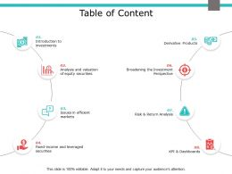 Table Of Content Return Analysis Ppt Powerpoint Presentation Outline Sample