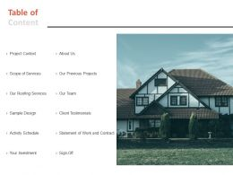 Table Of Content Roofing Services L587 Ppt Powerpoint Presentation Styles Template