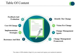 Table Of Content Sample Of Ppt Presentation