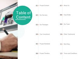 Table Of Content Services Investment L682 Ppt Powerpoint Presentation Model