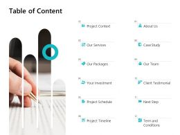 Table Of Content Services Investment L692 Ppt Powerpoint Presentation