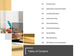 Table Of Content Social Media M2637 Ppt Powerpoint Presentation Professional Layouts