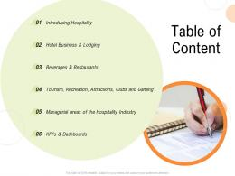 Table Of Content Strategy For Hospitality Management Ppt Infographics Outfit