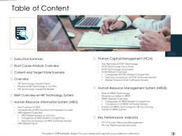 Table Of Content Technology Disruption In HR System Ppt Formats