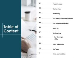 Table Of Content Transportation Requirement L40 Ppt Powerpoint Presentation Tips