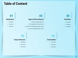 Table Of Content Types Of Service Quotes Ppt Templates
