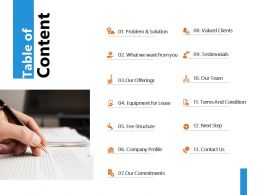 Table Of Content Valued Clients J244 Ppt Powerpoint Presentation File Model