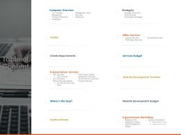 Table Of Content Website Development Budget Ppt Powerpoint Presentation Infographics