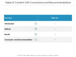 Table Of Content With Conclusions And Recommendations