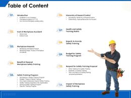Table Of Content Workplace Hazards R8 Ppt Powerpoint Presentation File Graphics