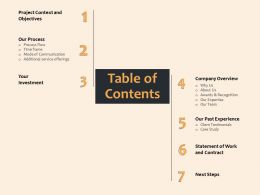 Table Of Contents Additional Service Offerings Ppt File Example Introduction