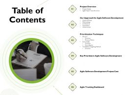 Table Of Contents Agile Software Development Ppt Powerpoint Presentation Example 2015