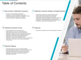 Table Of Contents Analyzing Performing Stakeholder Assessment