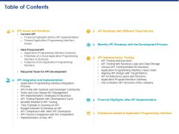 Table Of Contents API Issues And Solutions Ppt Powerpoint Presentation Inspiration Icons