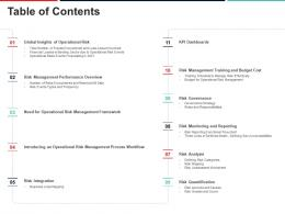 Table Of Contents Approach To Mitigate Operational Risk Ppt Infographics