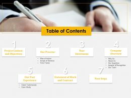 Table Of Contents Awards And Recognition Ppt Example File