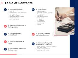 Table Of Contents Business Ppt Powerpoint Presentation Slides Example