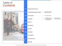 Table Of Contents Campaign Design And Execution Proposal Template Ppt Powerpoint Ideas