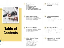 Table Of Contents Challenges And Solutions N350 Ppt Powerpoint Presentation Infographic Outline