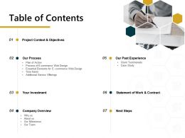 Table Of Contents Client Testimonials Process Ppt Powerpoint Presentation Infographic Template