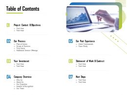 Table Of Contents Company Overview Ppt File Topics