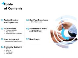 Table Of Contents Company Overview Ppt Powerpoint Presentation Designs Download