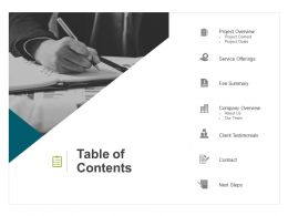 Table Of Contents Company Overview Ppt Powerpoint Presentation Infographics