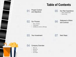 Table Of Contents Company Overview Ppt Powerpoint Presentation Visual Aids Summary