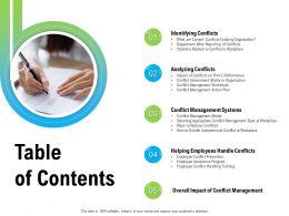 Table Of Contents Conflict Management M2261 Ppt Powerpoint Presentation Portfolio Clipart