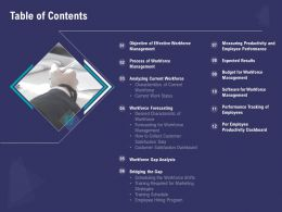 Table Of Contents Current Workforce N285 Powerpoint Presentation Design Inspiration