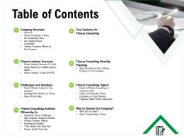 Table Of Contents Fitness Consulting M1610 Ppt Powerpoint Presentation Slides