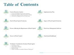 Table Of Contents Fixed Asset Dashboard Ppt Ideas Rules