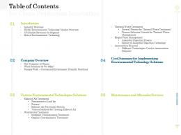 Table Of Contents For Clean Production Innovation Clean Production Innovation Ppt Model