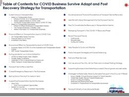 Table Of Contents For Covid Business Survive Adapt And Post Recovery Strategy For Transportation Ppt Information