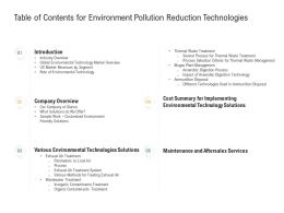 Table Of Contents For Environment Pollution Reduction Technologies Ppt File Formats