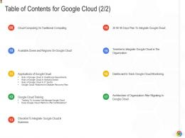 Table Of Contents For Google Cloud Training Google Cloud IT Ppt Graphics