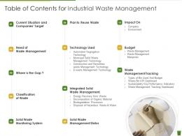 Table Of Contents For Industrial Waste Management Industrial Waste Management