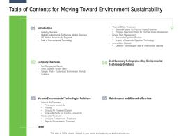 Table Of Contents For Moving Toward Environment Sustainability Ppt Powerpoint Presentation Icon