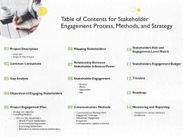 Table Of Contents For Stakeholder Engagement Process Methods And Strategy Ppt Image