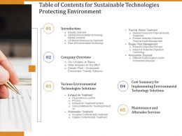 Table Of Contents For Sustainable Technologies Protecting Environment Ppt Smartart
