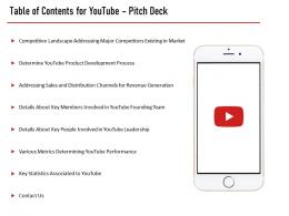 Table Of Contents For Youtube Pitch Deck Slide Performance Ppt Portfolio Good